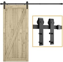 Barn Pulley Door,Hardware Kit Sliding Track Black