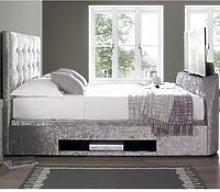 Barnard Silver Velvet Fabric TV Ottoman Storage