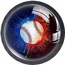 Baseball Crystal Glass Round Cabinet knob with
