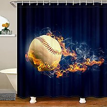 Baseball Shower Curtain for Sports Bathroom Fabric
