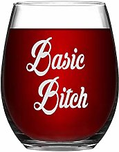 Basic Bitch Crystal Stemless Wine Glass,Engraved