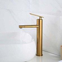 Basin Faucet Brushed Gold Brass Bathroom Sink