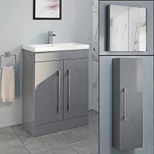 Basin Vanity Unit Mirror Cabinet Tall Cupboard