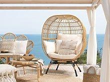 Basket Chair Rattan Natural Colour Black Iron Legs