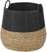 Basket in black and beige plant fibre
