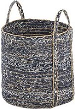 Basket in blue and beige woven recycled denim