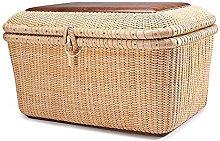 Basket rectangle handmade cane storage basket with