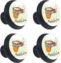 Basketball in Basket-01 Drawer Knobs Set of 4 -