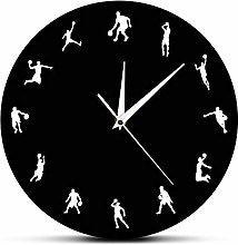 Basketball Players Silhouette Wall Clock