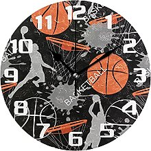 Basketball Sport Theme Wall Clock Silent Non