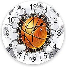 Basketball Wall Crack 3D Wall Clock Modern Design