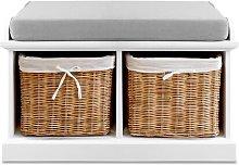 Bastogne Wood Storage Bench August Grove Basket