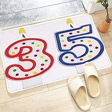 Bath Mat 60x100 cm,35th Birthday