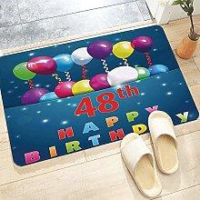 Bath Mat 60x100 cm,48th Birthday