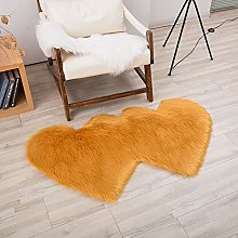 Bath Mat Faux Wool Carpet Double Heart-shaped