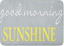 Bath Mat Gray Good Morning Sunshine Accent Yellow