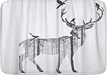 Bath Mat Rug Adjustable Hunting Deer with Pine