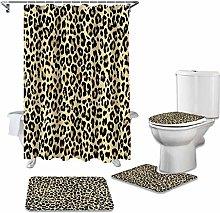 Bath Mat Set 4 Piece,4 Piece Shower Curtain Set