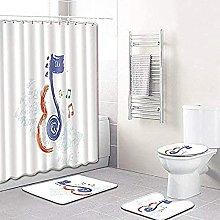 Bath Mat Set 4 Piece,4-Piece Shower Curtain Set