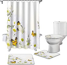 Bath Mat Set 4 Piece,4Pcs/Set Butterfly Daisy