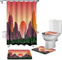 Bath Mat Set 4 Piece,4Pcs/Set Cactus Mountain