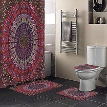 Bath Mat Set 4 Piece,4Pcs/Set Mandala Pattern Red