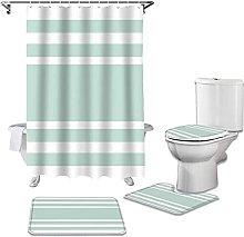 Bath Mat Set 4 Piece,Bathroom Shower Curtain And