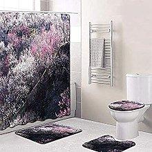 Bath Mat Set 4 Piece,Floral Pattern Bathroom Mats