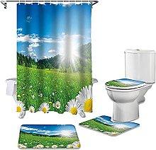 Bath Mat Set 4 Piece,Flower Morning Daisy Blossoms