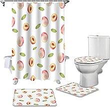 Bath Mat Set 4 Piece,Fruit Peach Bathroom Non-Slip