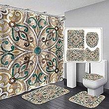 Bath Mat Set 4 Piece,Leopard Pattern Print Shower