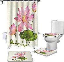 Bath Mat Set 4 Piece,Plant Pink Lotus Bathroom Set