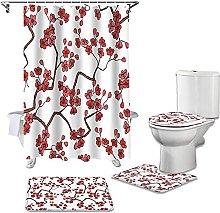 Bath Mat Set 4 Piece,Plum Blossom Flower White