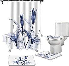 Bath Mat Set 4 Piece,Purple Flower Bathroom Set