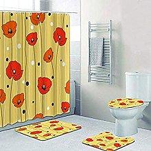 Bath Mat Set 4 Piece,Shabby Yellow Poppies Shower