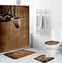 Bath Mat Set 4 Piece,Shower Curtain Set Basketball