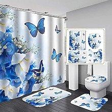 Bath Mat Set 4 Piece,Shower Curtain Set Beautiful