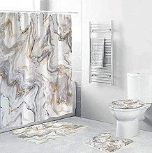 Bath Mat Set 4 Piece,Shower Curtain Set Marble