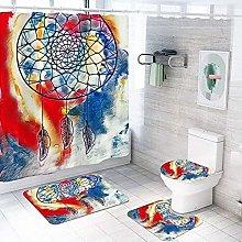 Bath Mat Set 4 Piece,Shower Curtain, Toilet Set,4
