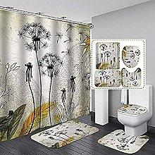 Bath Mat Set 4 Piece,Shower Curtain, Toilet