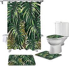 Bath Mat Set 4 Piece,Tropical Plant Monstera