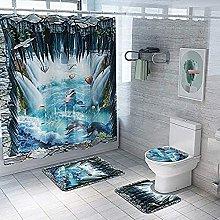 Bath Mat Set 4 Piece,Underwater World Print Shower