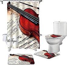 Bath Mat Set 4 Piece,Violin On Sheet Music