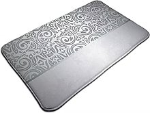 Bath Mat Silver Luxury Vintage Element Pattern