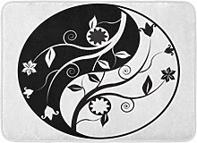 Bath Mat Yoga White Ying Yin Yang Symbol Ornaments