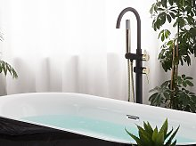 Bath Mixer Tap Black with Gold Stainless Steel 118