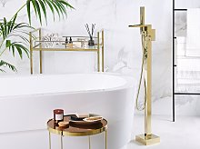 Bath Mixer Tap Gold Chrome Freestanding 118 cm