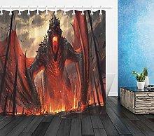 Bath Waterproof Fabric Shower Curtain Set Dragon