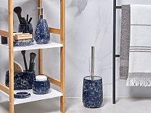 Bathroom Accessories Set Blue Marble Ceramic Glam Glamour Soap Dispenser Toilet Brush Tumbler
