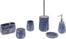 Bathroom Accessories Set Blue Marble Ceramic Soap Dispenser Toilet Brush Antuco